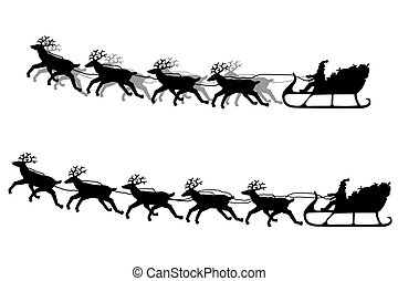Santa Claus and his sleigh silhouette - Santa Claus on his...