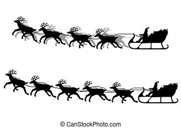 Santa Claus & his sleigh silhouette - Santa Claus on his...