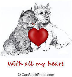 Scottie dogs with a love heart - Two Scottie dogs with a...