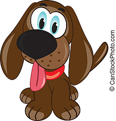 Cartoon puppy Vector illustration on white background