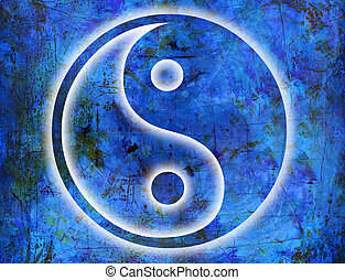 yin and yang background - yin and yang symbol on blue...