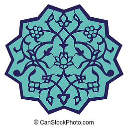 Iznik Ottoman Motif - Iznik Ottoman motif in turquoise and...