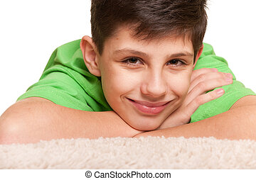 Nice smiling boy - A closeup portrait of a cheerful boy in...