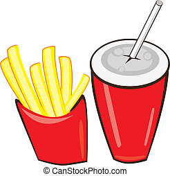 Drink And French Fries. Vector illustration on white...