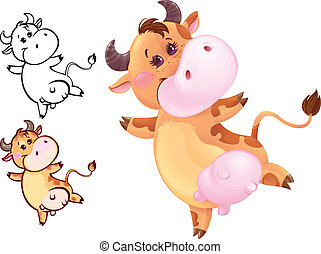 Happy cow - Funny jumping cow may be used as your corporate...