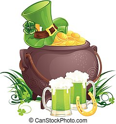 Saint Patricks Day symbols - The mythical pot of gold,...