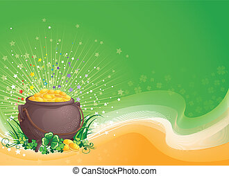 Pot of gold on Saint Patricks Day - St Patrick background...