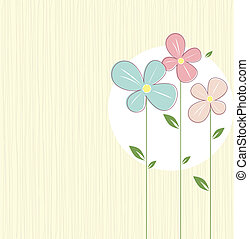 Spring flowers - Three spring flowers with green leaves on...