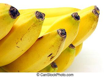 白, 束, バナナ, 背景, 隔離された