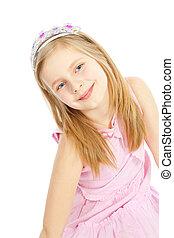 little girl princess over white