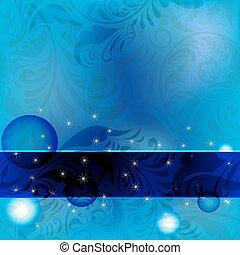 blue frame on seamless floral vintage background