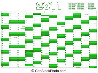 calendar for 2012 in German with official holidays
