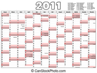 2011 Calendar with German official holidays