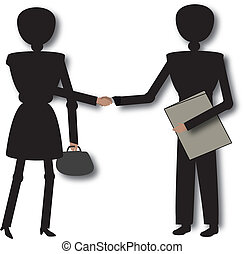 making deal - man and woman making deal