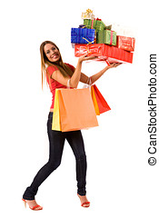 shopping girl - Attractive woman holding many gift boxes and...
