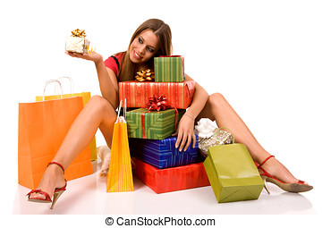 shopping girl - Attractive girl sitting on floor and looking...