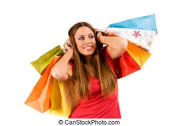 shopping girl - Beautiful shopping girl with bags.