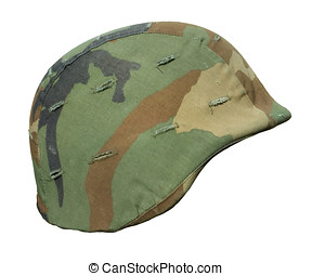 US Panama Invasion Helmet - A US PASGT Kevlar helmet with a...