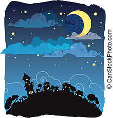 Moonlit night poster  - Vector card with night landscape