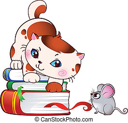 Kitten and mouse - This image is a vector illustration and...