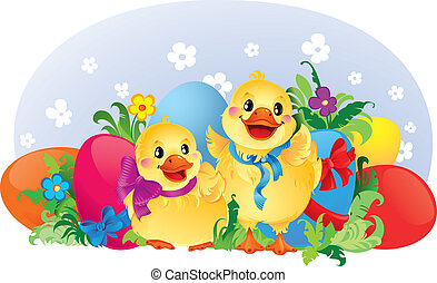 Easter greeting card with ducklings - This image is a vector...