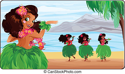 Hula dancer in Hawaii - Vector card with hula-dancers