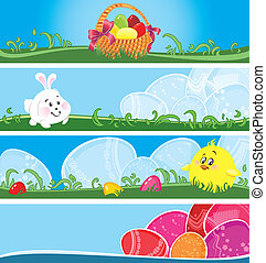 Easter multicolor banners - Set of Easter banners in vector...