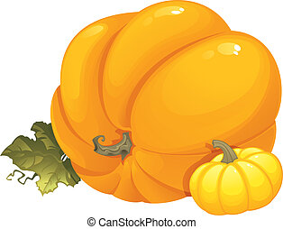 Seasonal illustration with pumpkins - This image is a vector...