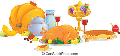 Thanksgiving dinner - Seasonal vector illustration with...
