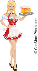 Oktoberfest girl with tray of beer - vector illustration of...