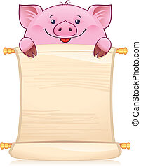Piglet with scroll - Symbol of Chinese horoscope...