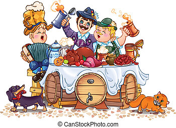 Oktoberfest festival - humorous vector drawing of festival