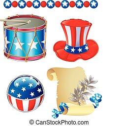Independence Day symbols - Set of Elements related to...