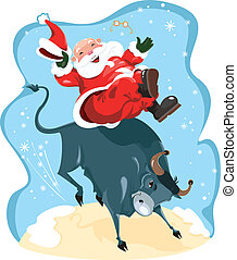 Funny cartoon with Santa on rodeo - Humorous vector...