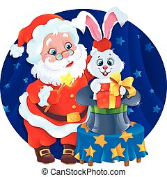 magician Santa and Rabbit. - Greeting card for Christmas and...
