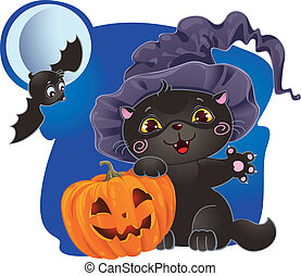 Halloween kitten with pumpkin - Halloween card with kitten...