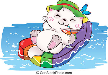 Kitten on vacation - Funny card on vacation in vector. This...