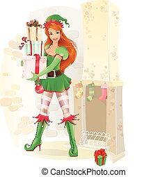 Cute female elf with christmas pres