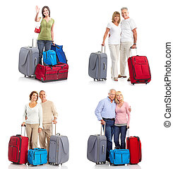 travelers - people travelers with bags. Isolated over white...