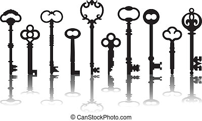 Skeleton Key Icons - Vector skeleton key icons with drop...