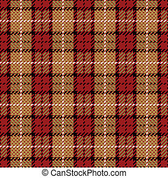 Pixel Plaid in Red and Gold - Vector plaid pattern in red...