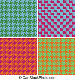 Pixel Houndstooth in Retro Brights