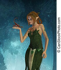 Elf Woman and Pet Dragon - Beautiful elf woman and her tiny...