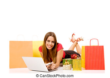 shopping girl - Attractive woman buying over internet hold...