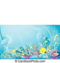 Tropical sea background - Vector illustration of underwater...