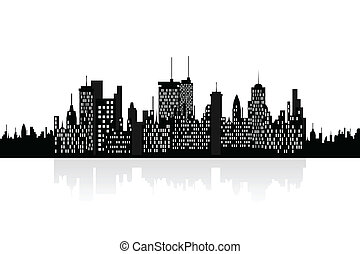 Urban skyscrapers cityview - City skyline with urban...