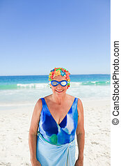 Senior woman in swimsuit