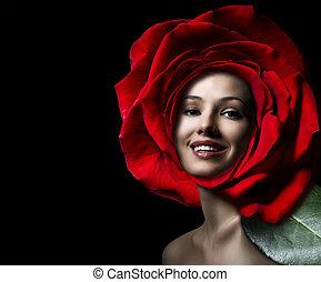 flower girl - a beauty flower girl on the black background