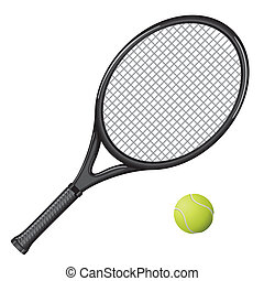 Tennis - Isolated image of a tennis racket and ball. Vector...