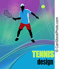 Tennis design poster - Tennis action player. Abstract tennis...